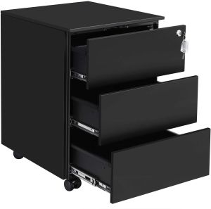 Mobile File Cabinet, Lockable, with 3 Drawers, Hold Documents, Stationery, Pre-Assembled, for Office, Home Office, 39 x 45 x 55 cm (L x W x H), Matte Black OFC63BK