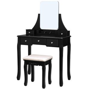Dressing Table Set with Large Frameless Mirror, Makeup Table for Bedroom, Bathroom, 5 Drawers and 1 Removable Storage Box, Cushioned Stool, Black RDT25BK