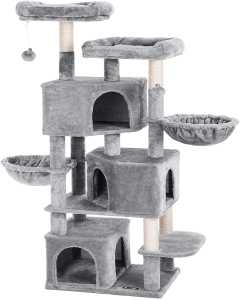 Large Cat Tree with 3 Cat Caves, 164 cm Cat Tower, Light Grey PCT98W