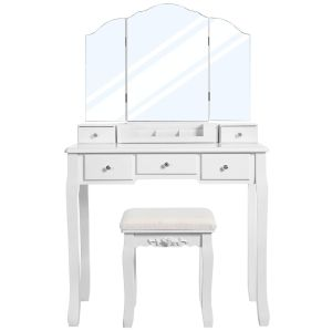 Dressing Table with 5 Drawers, Makeup Desk with 1 Stool, Frameless Tri-Fold Mirror, 1 Removable Cosmetic Storage Box, Vanity Set, Easy to Assemble, White RDT28WT