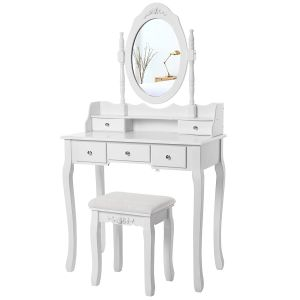 Wall-fixed 5 Drawers Dressing Table with Stool and Mirror, Vanity with 2 divider RDT15W