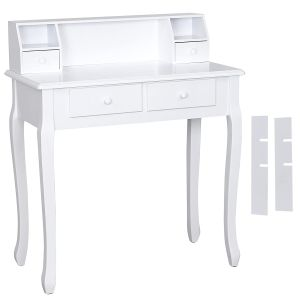 Wall-Fixed White Dressing Table for Office Desk Writing Table Makeup Vanity Dresser RDT80W