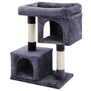 Cat Tree with Sisal-Covered Scratching Posts and 2 Plush Condos, Cat Furniture for Kittens, Grey PCT61G