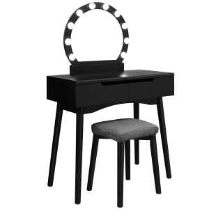 Dressing Table Set with Mirror and Light Bulbs for Makeup, Vanity Table with 2 Large Sliding Drawers and Cushioned Stool, Black RDT11BL
