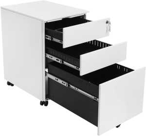 Mobile File Cabinet with 3 Drawers Lockable Steel Pedestal with Suspension File Hanging Rails, Fully Assembled Except Casters, White OFC60WT