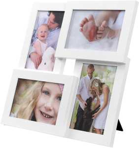"Picture Frames Collage for 4 photos, for 4"" x 6"" (10 x 15 cm), Glass Front, Wall Mounted Photo Gallery Display, White RPF25WT"