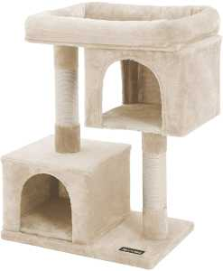 Cat Tree with Sisal-Covered Scratching Posts and 2 Plush Condos, Cat Furniture for Kittens, Beige PCT61M